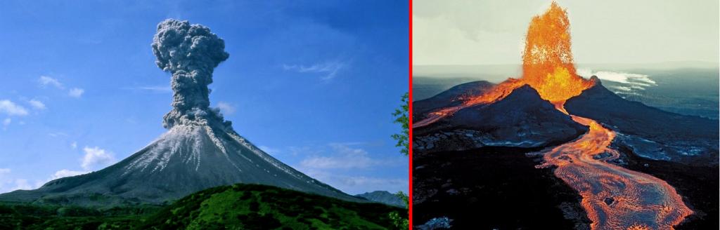 A gauche, l'éruption explosive du Pinatubo en 1991 A droite, le Kilauea à Hawaï en éruption effusive