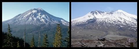 Le Mont Saint-Helens Avant 1980 et après son éruption - Nasa-USGS - Gripso Banana Prune