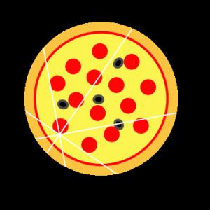 Une pizza coupée quatre fois.