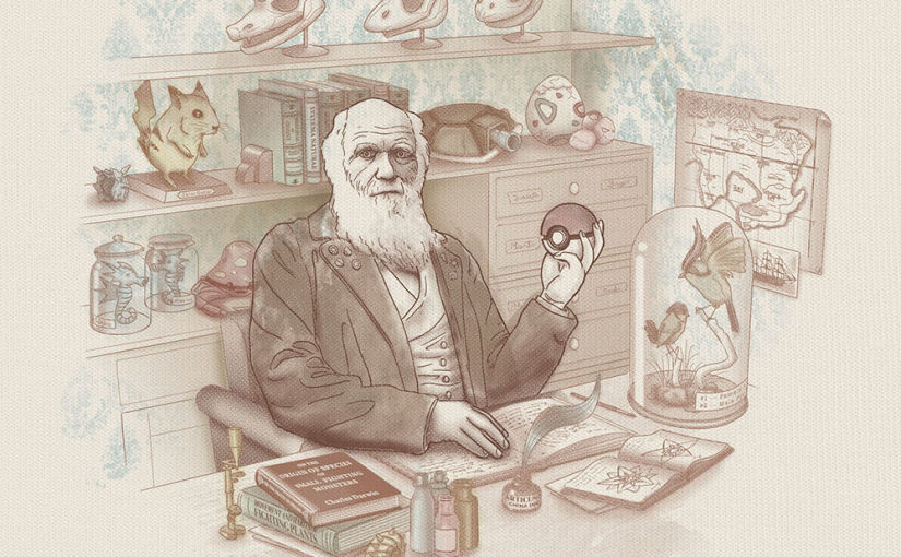 Darwin chez les Pokemon - Dessin par Santo76