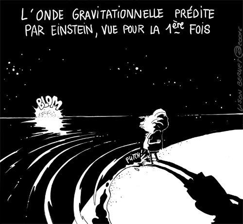 L'onde gravitationnelle prédite par Einstein, vue pour la 1ère fois - Dessin de Lison Bernet