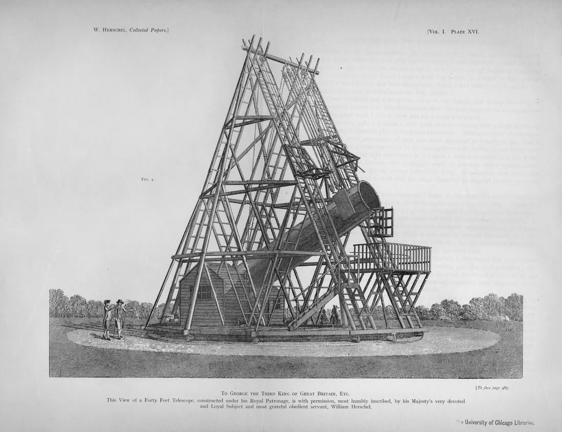 Dessin du télescope d'Herschel, provenant de ses ouvrages personnels.