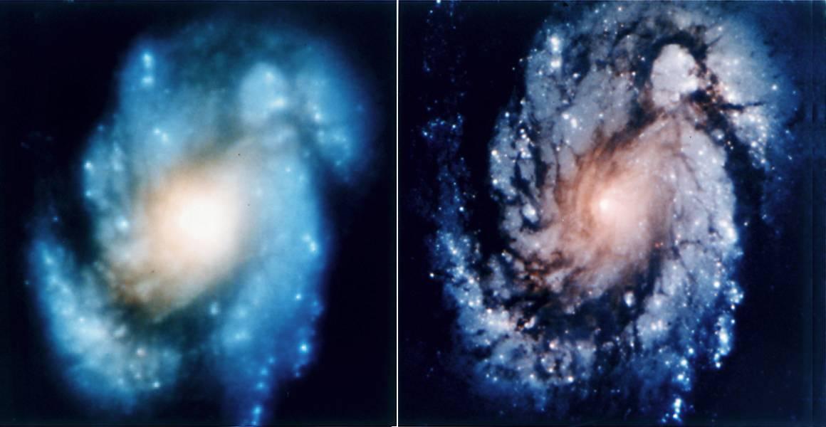 L'image avant correction (gauche), et après correction (droite).