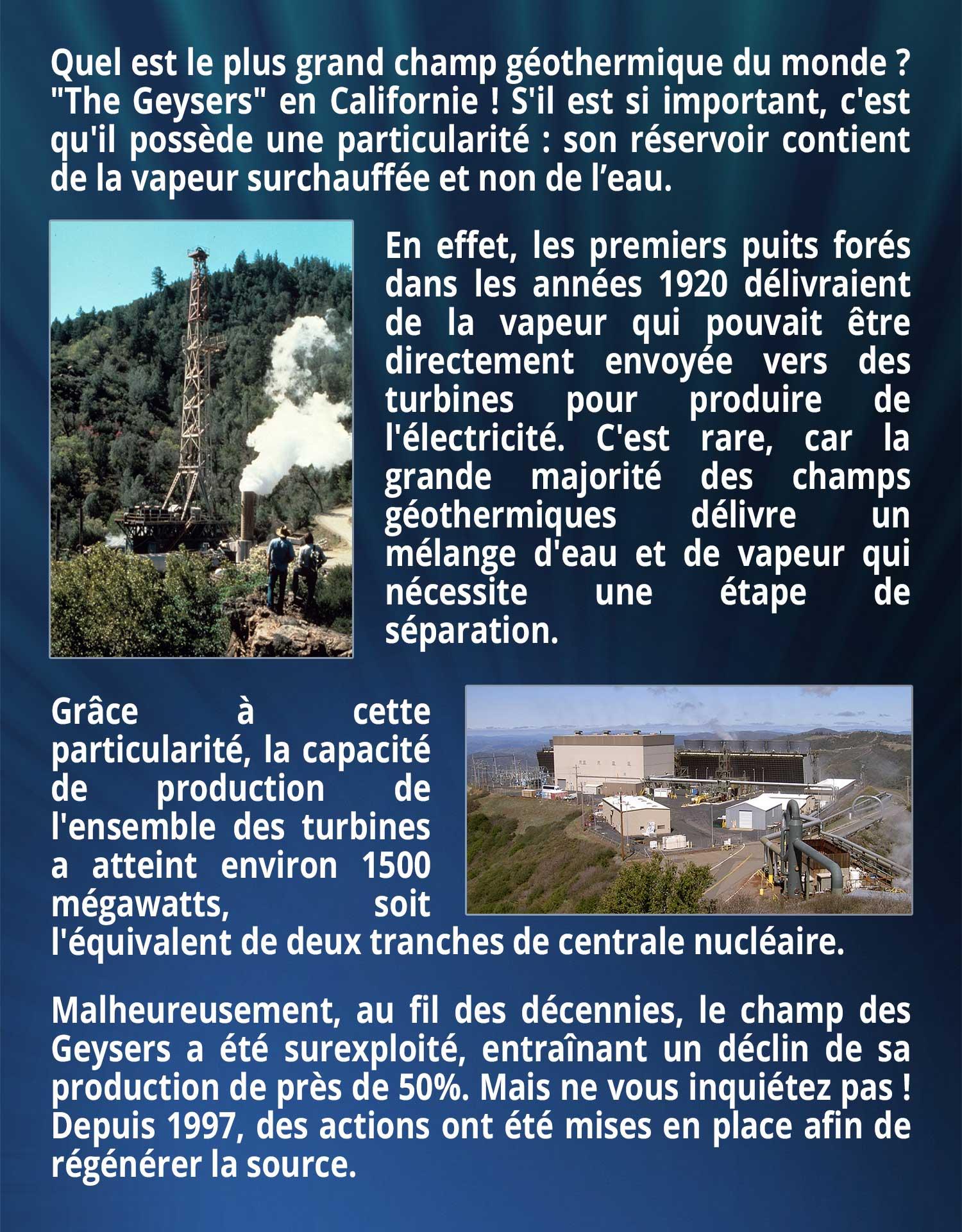 Quel est le plus grand champ géothermique du monde ?