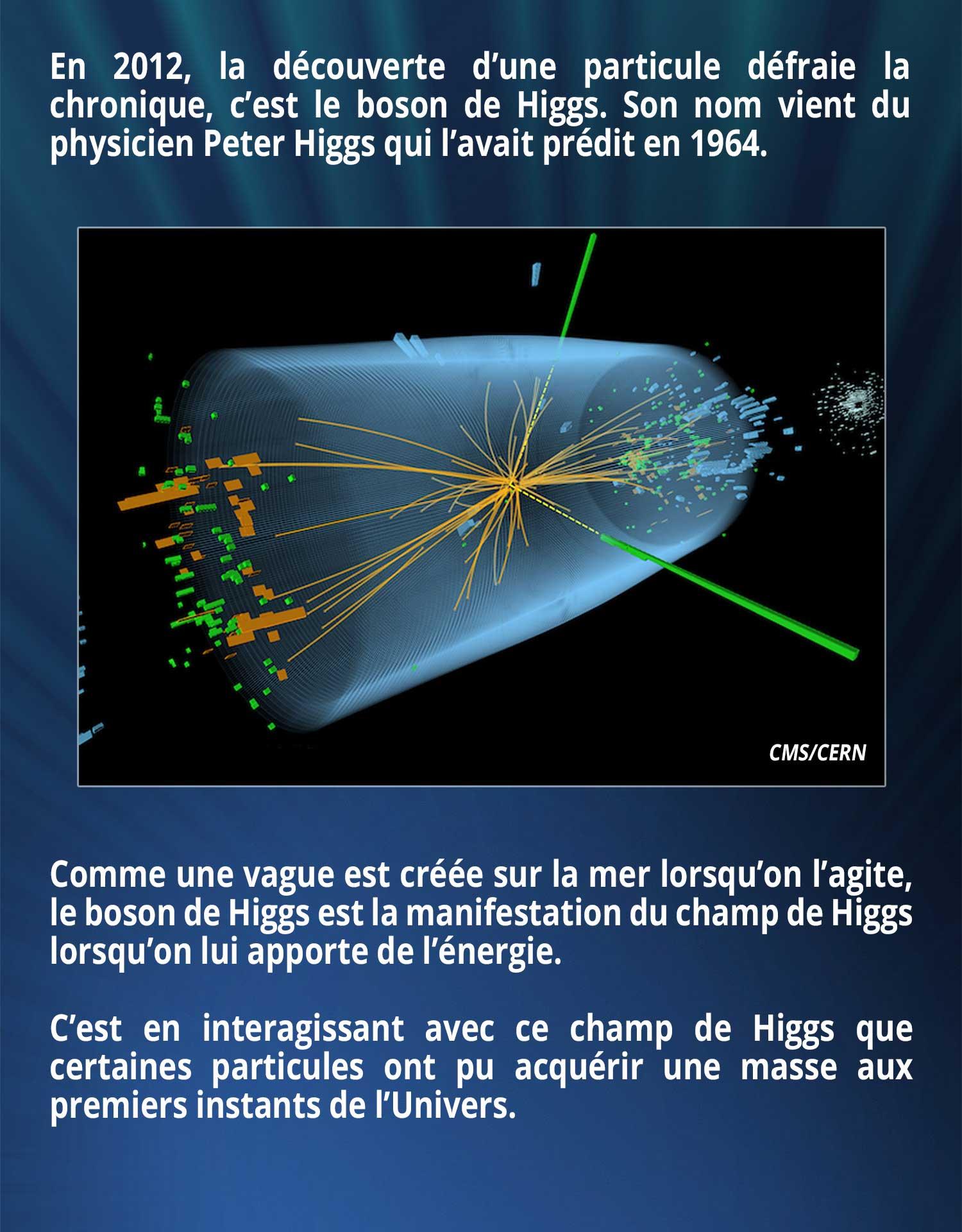 En 2012, la découverte d'une particule défraie la chronique, c'est le boson de Higgs. Son nom vient du physicien Peter Higgs qui l'avait prédit en 1964. Comme une vague est créée sur la mer lorsqu'on l'agite, le boson de Higgs est la manifestation du champ de Higgs lorsqu'on lui apporte de l'énergie. C'est en interagissant avec ce champ de Higgs que certaines particules ont pu acquérir une masse aux premiers instants de l'Univers.