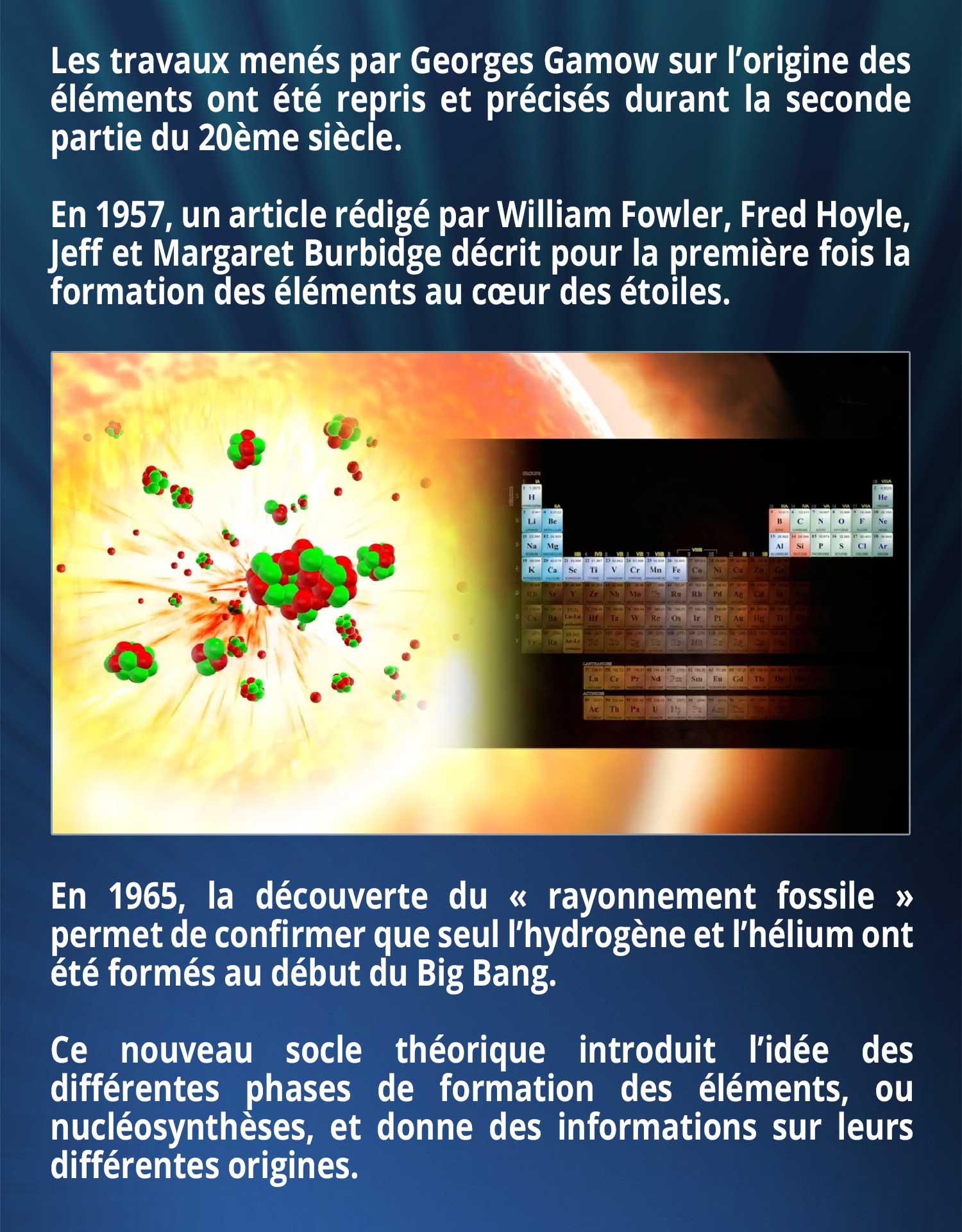 Les travaux menés par Georges Gamow sur l'origine des éléments ont été repris et précisés durant la seconde partie du 20ème siècle. En 1957, un article rédigé par William Fowler, Fred Hoyle, Jeff et Margaret Burbidge décrit pour la première fois la formation des éléments au cœur des étoiles. En 1965, la découverte du « rayonnement fossile » permet de confirmer que seul l'hydrogène et l'hélium ont été formés au début du Big Bang. Ce nouveau socle théorique introduit l'idée des différentes phases de formation des éléments, ou nucléosynthèses, et donne des informations sur leurs différentes origines.