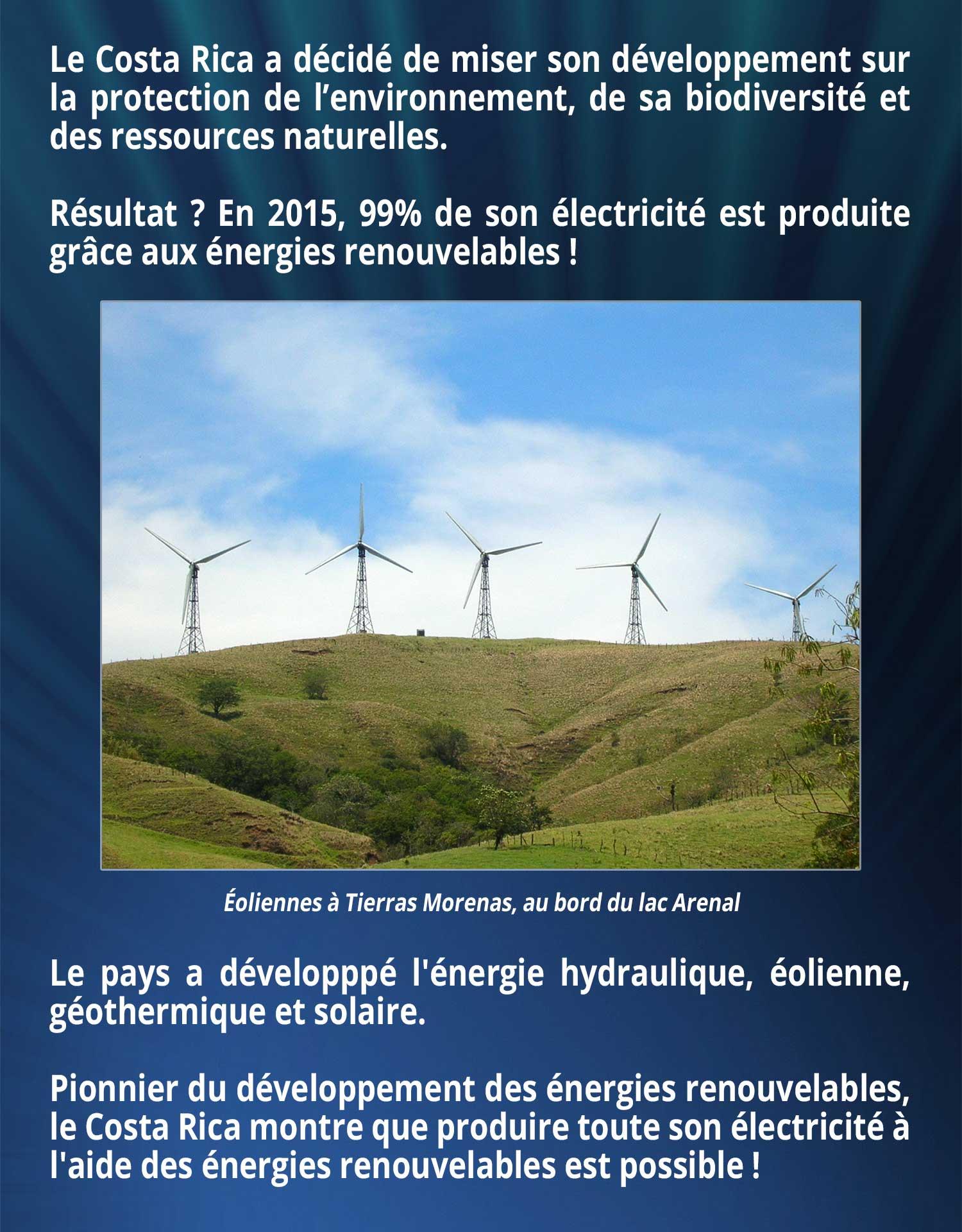 Le Costa Rica a décidé de miser son développement sur la protection de l'environnement, de sa biodiversité et des ressources naturelles. Résultat ? En 2015, 99% de son électricité est produite grâce aux énergies renouvelables ! Le pays a développpé l'énergie hydraulique, éolienne, géothermique et solaire. Pionnier du développement des énergies renouvelables, le Costa Rica montre que produire toute son électricité à l'aide des énergies renouvelables est possible !