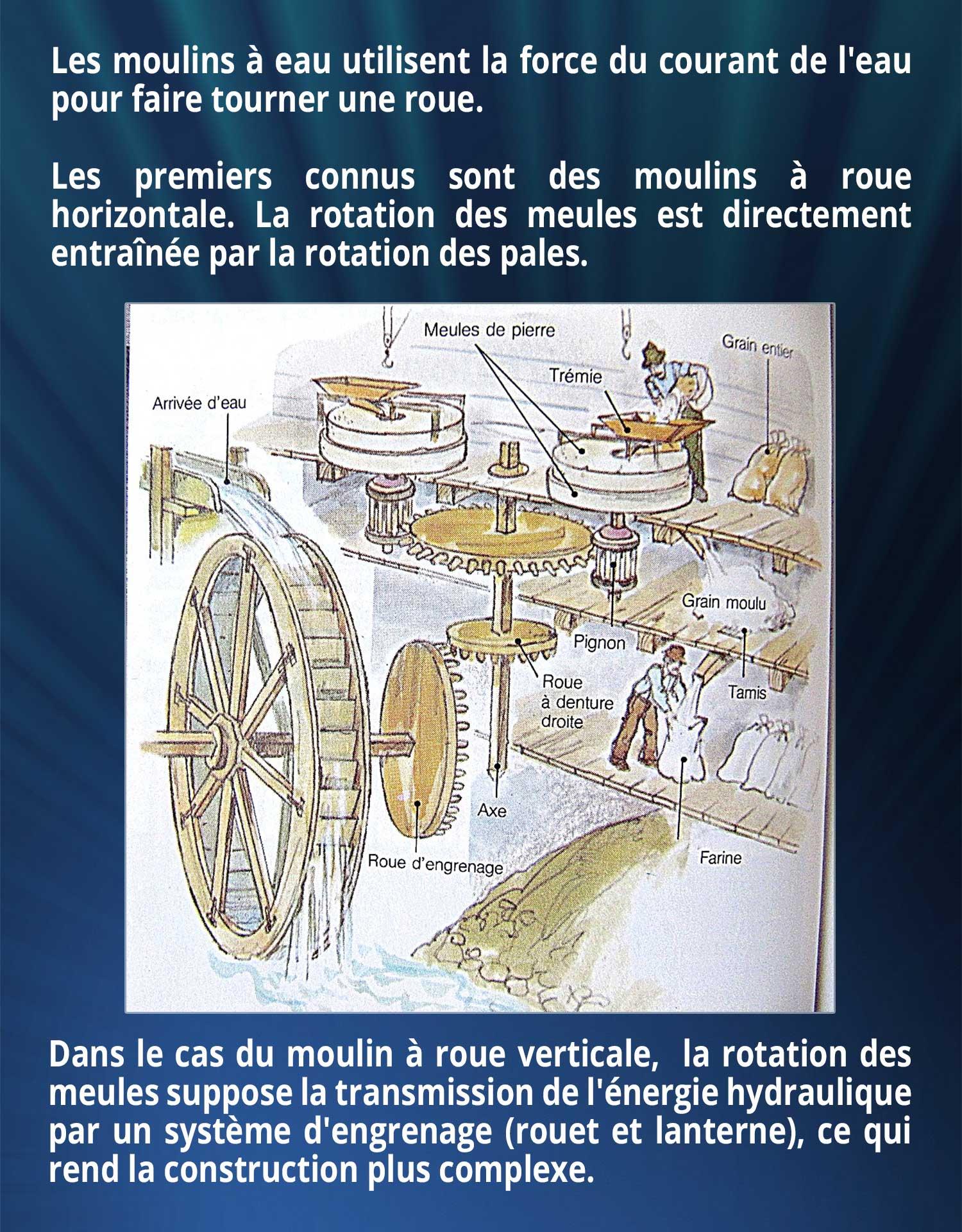 Les moulins à eau utilisent la force du courant de l'eau pour faire tourner une roue. Les premiers connus sont des moulins à roue horizontale. La rotation des meules est directement entraînée par la rotation des pales. Dans le cas du moulin à roue verticale,  la rotation des meules suppose la transmission de l'énergie hydraulique par un système d'engrenage (rouet et lanterne), ce qui rend la construction plus complexe.