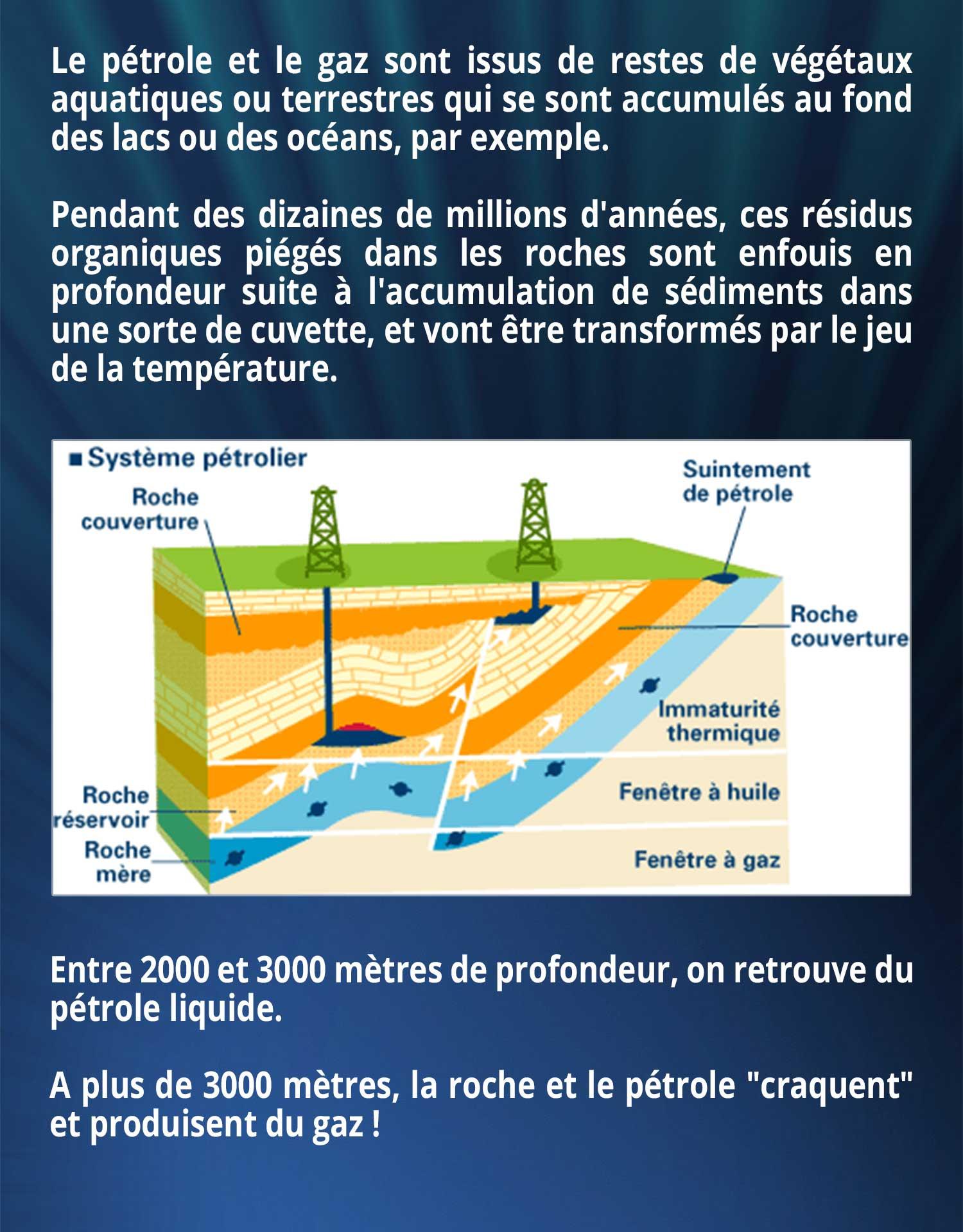 Le pétrole et le gaz sont issus de restes de végétaux aquatiques ou terrestres qui se sont accumulés au fond des lacs ou des océans, par exemple. Pendant des dizaines de millions d'années, ces résidus organiques piégés dans les roches sont enfouis en profondeur suite à l'accumulation de sédiments dans une sorte de cuvette, et vont être transformés par le jeu de la température. Entre 2000 et 3000 mètres de profondeur, on retrouve du pétrole liquide. A plus de 3000 mètres, la roche et le pétrole
