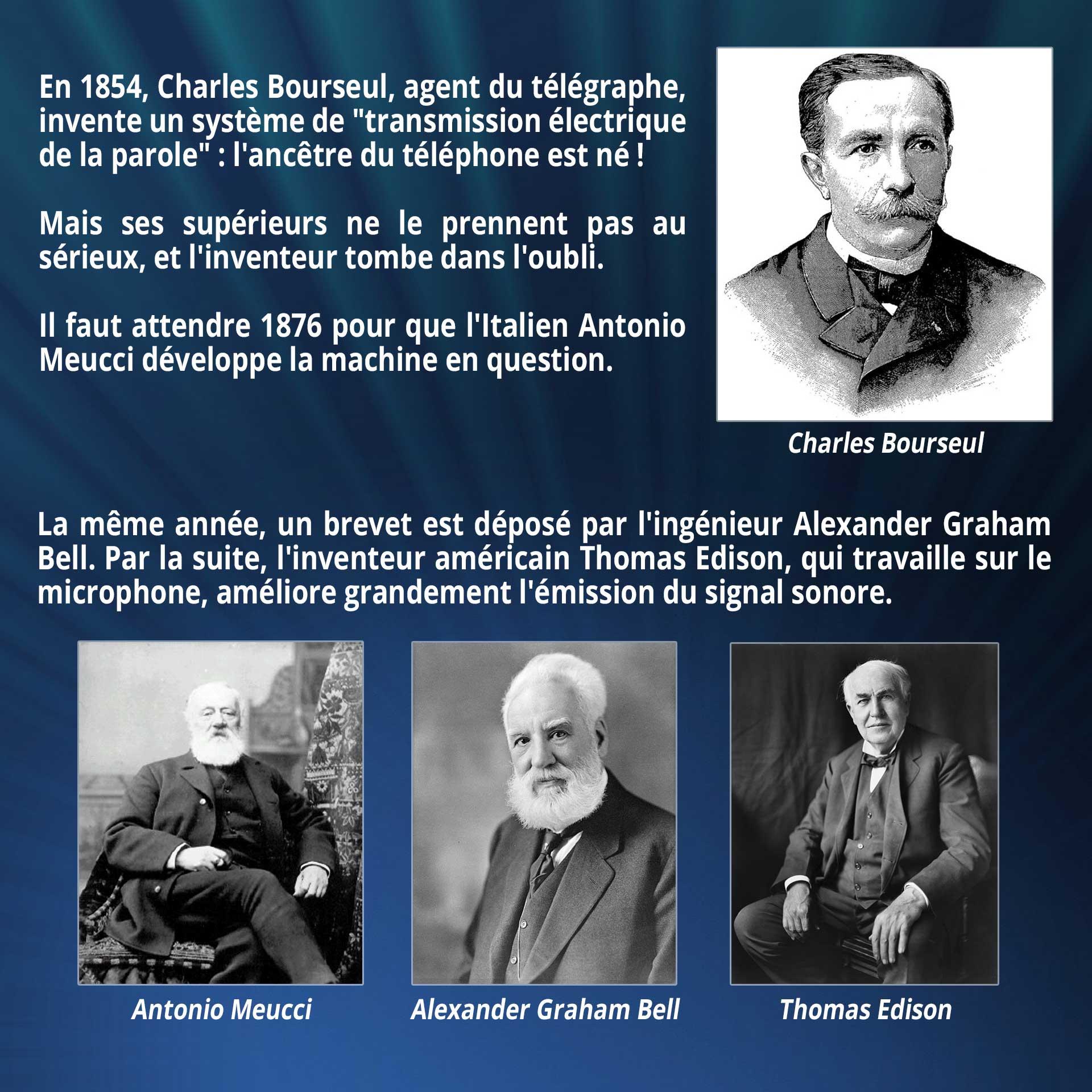 En 1854, Charles Bourseul, agent du télégraphe, invente un système de