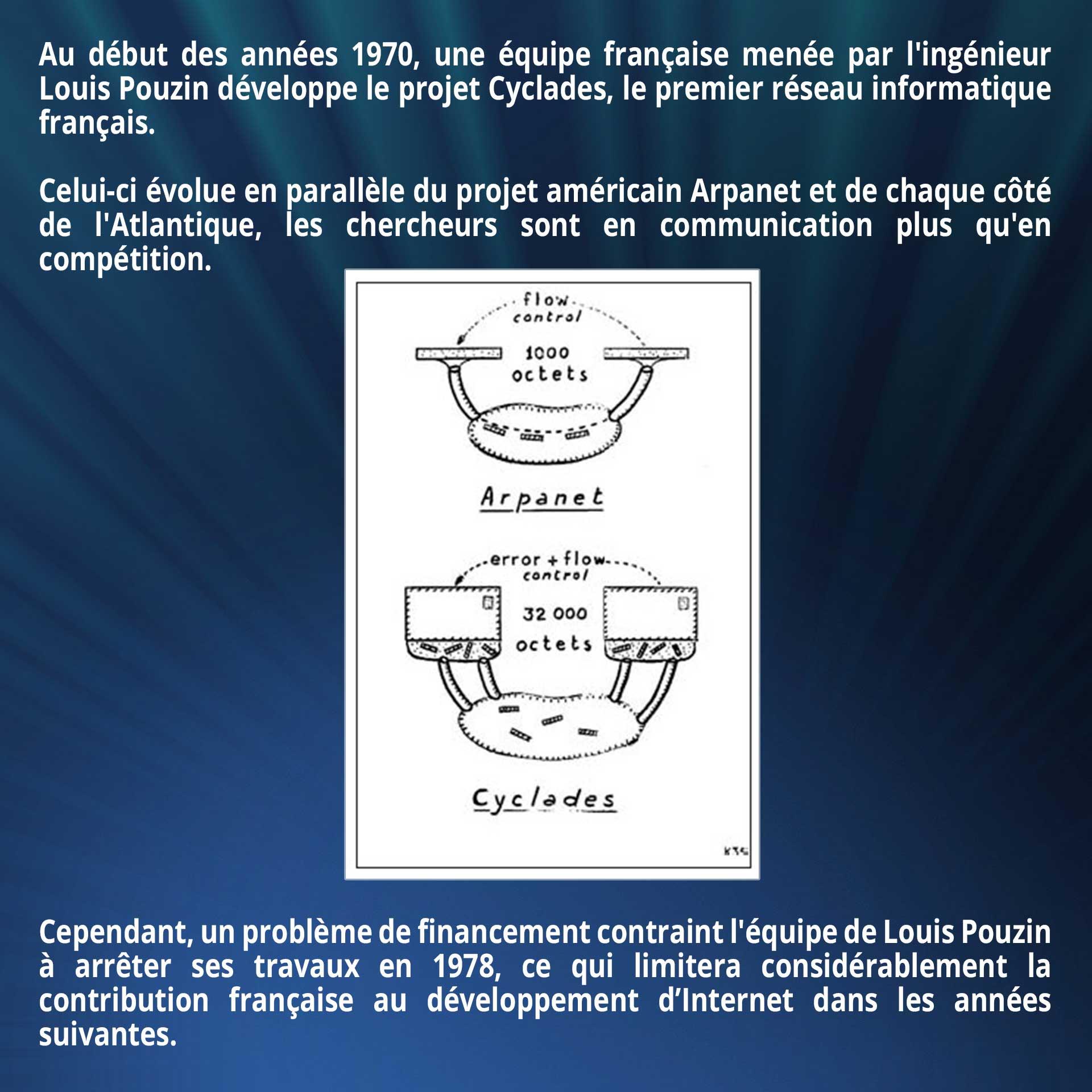 Au début des années 1970, une équipe française menée par l'ingénieur Louis Pouzin développe le projet Cyclades, le premier réseau informatique français. Celui-ci évolue en parallèle du projet américain Arpanet et de chaque côté de l'Atlantique, les chercheurs sont en communication plus qu'en compétition. Cependant, un problème de financement contraint l'équipe de Louis Pouzin à arrêter ses travaux en 1978, ce qui limitera considérablement la contribution française au développement d'Internet dans les années suivantes.