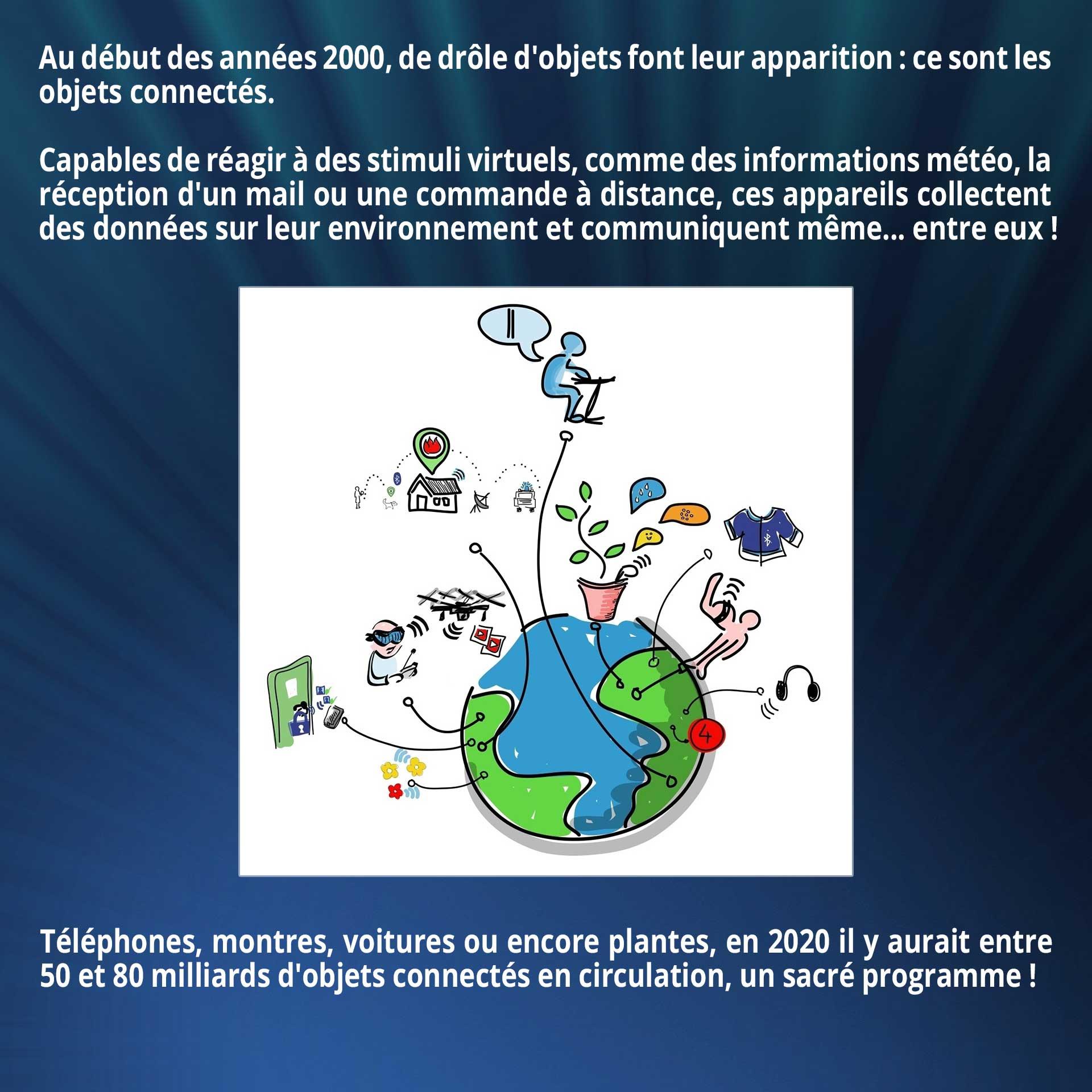 Au début des années 2000, de drôle d'objets font leur apparition : ce sont les objets connectés. Capables de réagir à des stimuli virtuels, comme des informations météo, la réception d'un mail ou une commande à distance, ces appareils collectent des données sur leur environnement et communiquent même... entre eux ! Téléphones, montres, voitures ou encore plantes, en 2020 il y aurait entre 50 et 80 milliards d'objets connectés en circulation, un sacré programme !