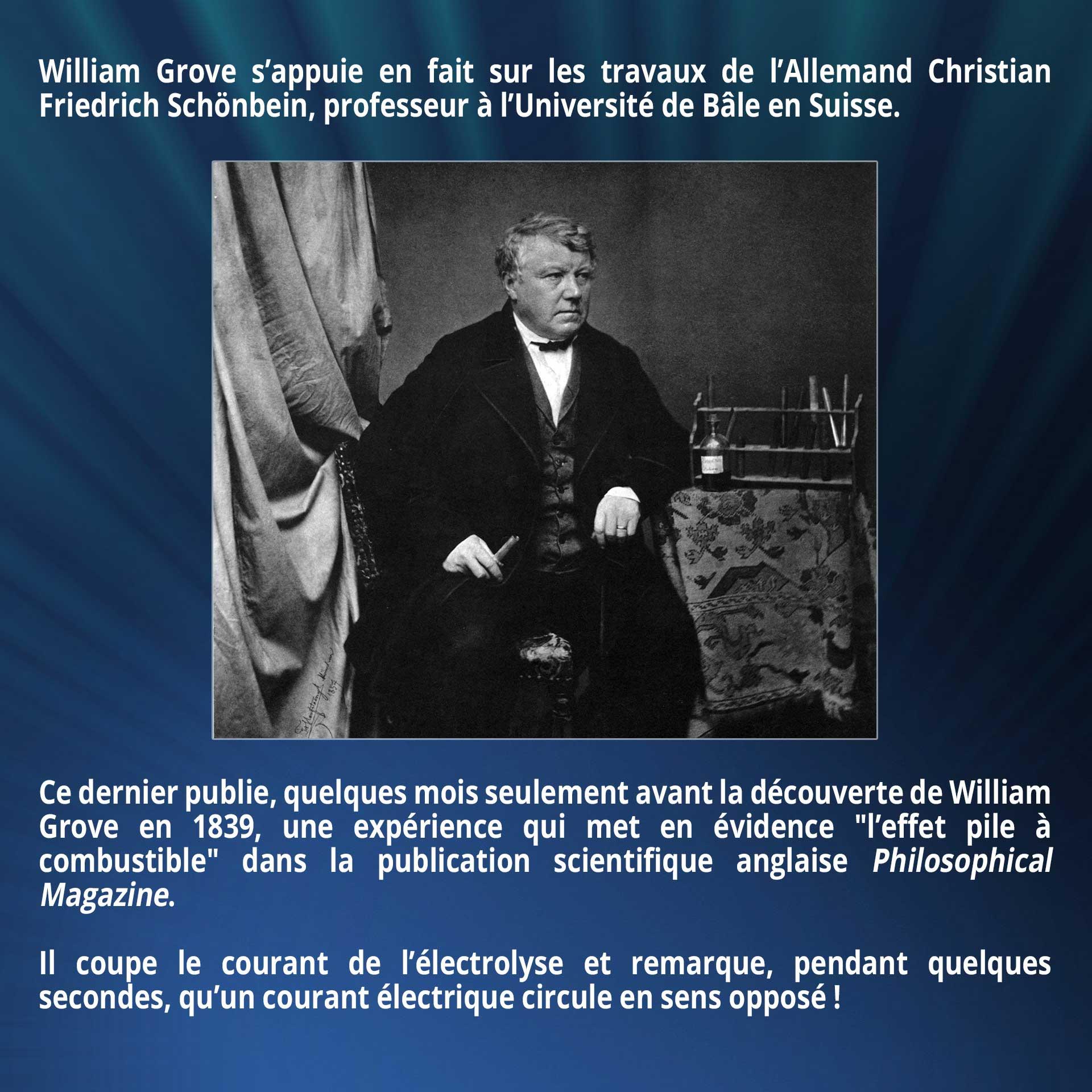 William Grove s'appuie en fait sur les travaux de l'Allemand Christian Friedrich Schönbein, professeur à l'Université de Bâle en Suisse. Ce dernier publie, quelques mois seulement avant la découverte de William Grove en 1839, une expérience qui met en évidence