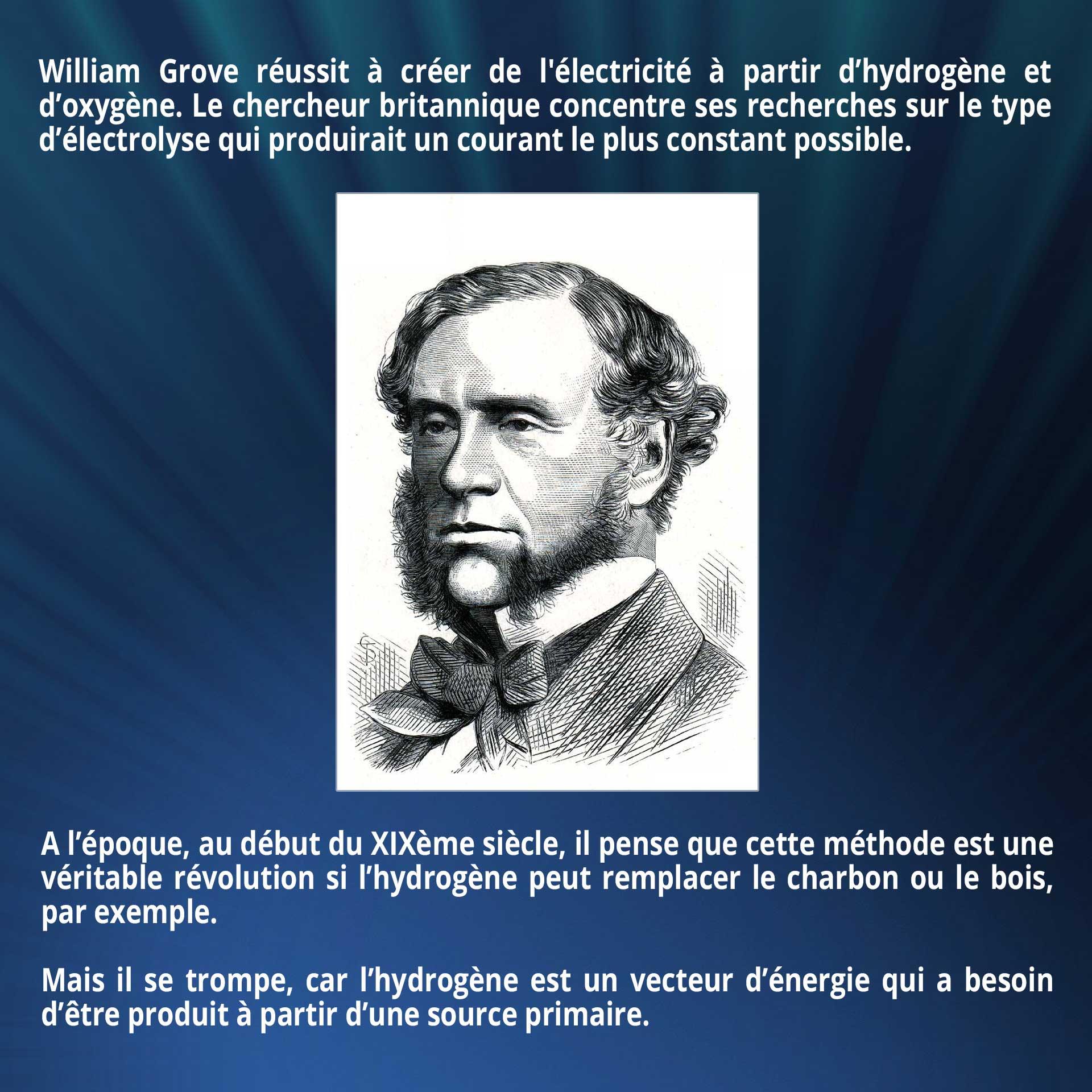 William Grove réussit à créer de l'électricité à partir d'hydrogène et d'oxygène. Le chercheur britannique concentre ses recherches sur le type d'électrolyse qui produirait un courant le plus constant possible. A l'époque, au début du XIXème siècle, il pense que cette méthode est une véritable révolution si l'hydrogène peut remplacer le charbon ou le bois, par exemple. Mais il se trompe, car l'hydrogène est un vecteur d'énergie qui a besoin d'être produit à partir d'une source primaire.